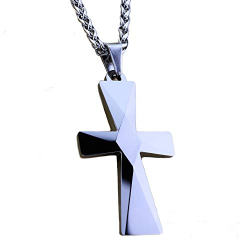 "MJ Metals Jewelry Tungsten Carbide Mirror Polished Cross Pendant Necklace 26"" Stainless Steel Wheat Chain"