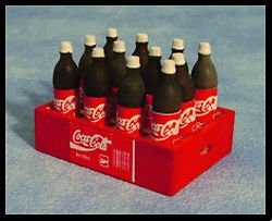 Miniature Coca Cola (Coke) Bottle Crate With 12 Bottles To Place Outside Your Fairy Door (Wooden Coca Cola Crate)