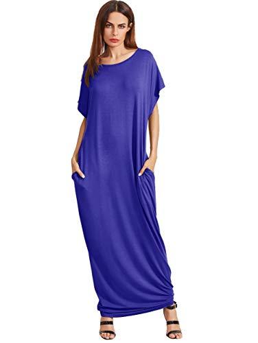 Verdusa Women's Short Sleeve Casual Loose Long Maxi Dress with Pockets Royal Blue M]()
