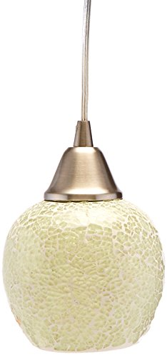 Elk 10208/1CLD-LED Fission 1-LED Light Pendant with Cloud Glass Shade, 5 by 7-Inch, Satin Nickel Finish
