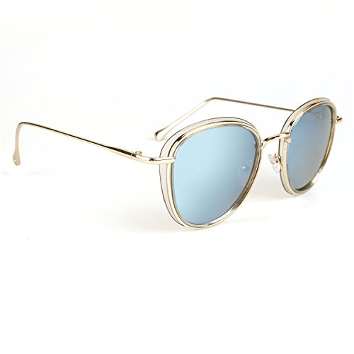 JOOX Oversized Round Fashion Sunglasses Metal Frame Mirrored UV400 lens - Shape To Glasses Face Frames Suit
