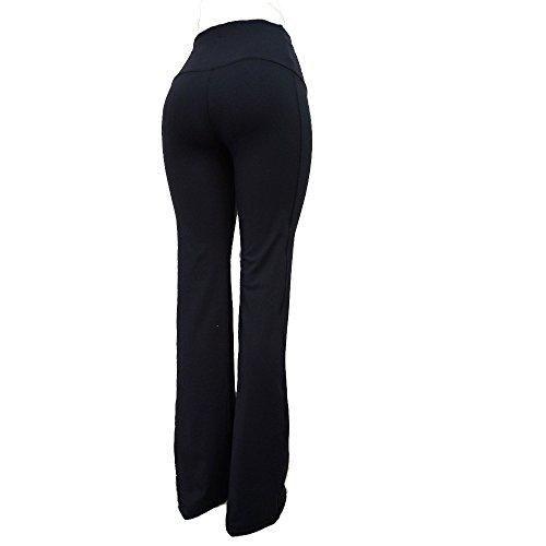 Regular Rise Bootcut Legging - Tummy Control Compression Yoga Flare Boot Cut Pants Hi Rise Regular 31 Inseam VC8F Black 3XL