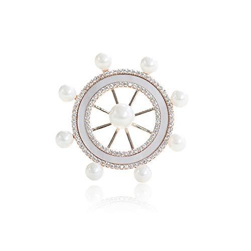 SKZKK Navy Style Enamel Lapel Pin Zinc Alloy Rudder Brooch Pins for Women Silver Inlay Pearls Retro Art Corsages Scarf Clip from SKZKK