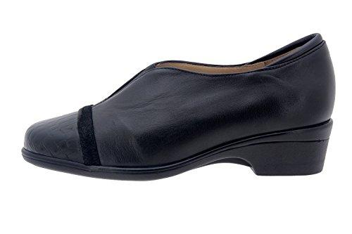 Calzado mujer confort de piel Piesanto 7607 zapato casual cómodo ancho Negro