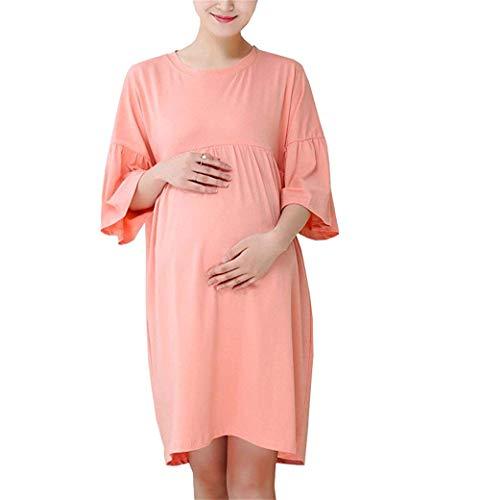 Da Estivo Pink Maternità Abiti Eleganti Abito Seno Unita Cotone Donna Targogo In Abbigliamento Infermieristico Di Per Tinta Girocollo Allattamento Al WE9DIH2