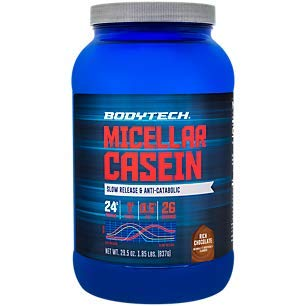 BodyTech Micellar Casein Protein Powder, Slow Release for Overnight Muscle Recovery 24 Grams of Protein per Serving Rich Chocolate 2 Pound