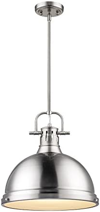 Golden Lighting 3604-L PW Duncan Pendant, Pewter with Pewter Shade