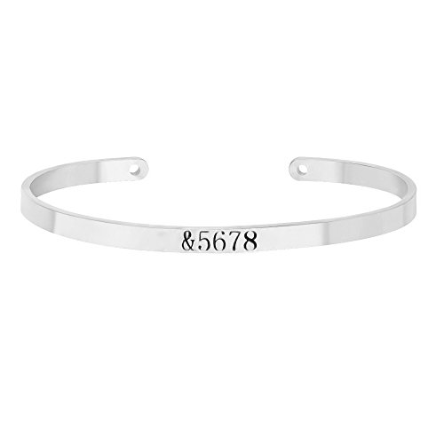 - MANZHEN Personalized &5678 Dance Teacher Gift Bangle Open Cuff Bangle Bracelet (Silver)