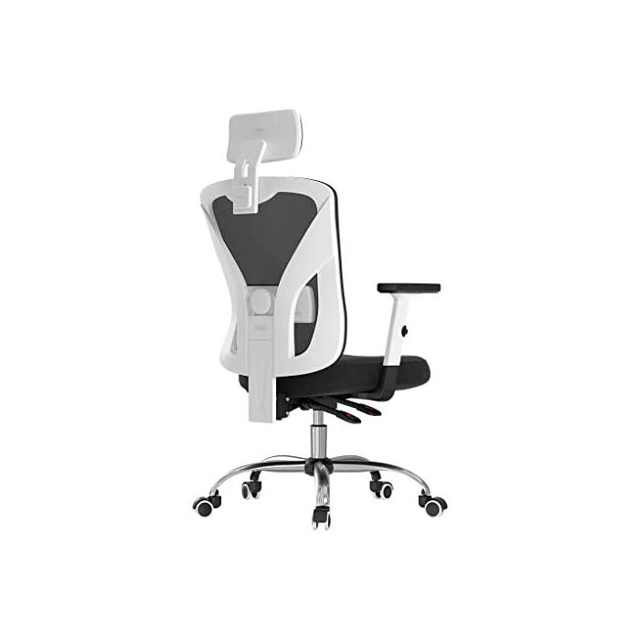 31sM7hyesOL Diseño ergonómico: el diseño único imita la columna vertebral humana. El respaldo de la silla puede controlar su postura en cualquier momento, para asegurar la alineación de la columna y el soporte de la postura de la espalda baja y aliviar su dolor de espalda. Varios ajustes: las diversas características de ajuste le brindan un mejor soporte mientras está sentado en nuestra silla ergonómica de oficina. Brazos regulables en altura, soporte lumbar, reposacabezas. Un ángulo de inclinación de 90 a 150 grados. Material de malla transpirable: el material de red diseñado con el asiento con la estructura de aire correcta permite un flujo de aire que proporciona una posición sentada fresca y cómoda. El aire fresco circula a través de la red y mantiene la espalda libre de sudor, lo que le permite sentarse cómodamente en la silla durante más tiempo que las sillas convencionales.