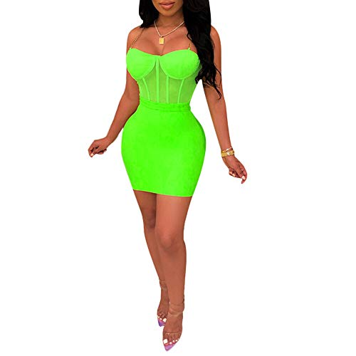 Women's Sexy Off Shoulder Bodycon Backless Deep V Neck Club Party Mini Dress Green