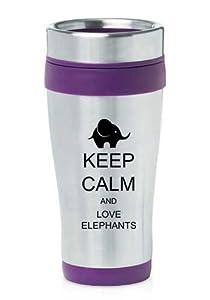 Purple 16oz Insulated Stainless Steel Travel Mug Z407 Keep Calm and Love Elephants