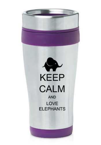 Coffee Mug Elephant (Purple 16oz Insulated Stainless Steel Travel Mug Z407 Keep Calm and Love Elephants)