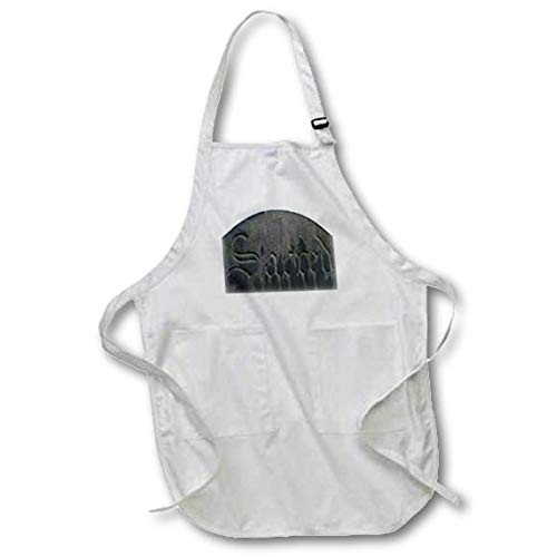 3dRose Taiche - Photography - Graveyard Headstone - Sacred Gothic Text Grave Headstone - Black Full Length Apron with Pockets 22w x 30l (apr_317489_4)