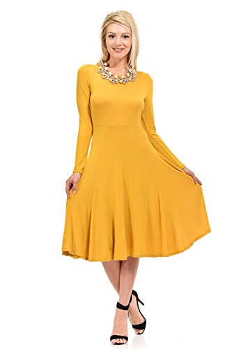 Pastel by Vivienne Women's Fit and Flare Midi Dress Large - Yellow Mod Dress