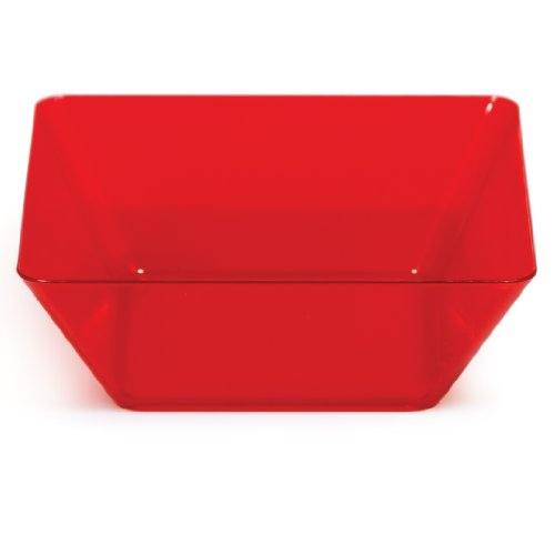 Creative Converting 4 Count Square Plastic Bowls, 5-Inch, Translucent Red -