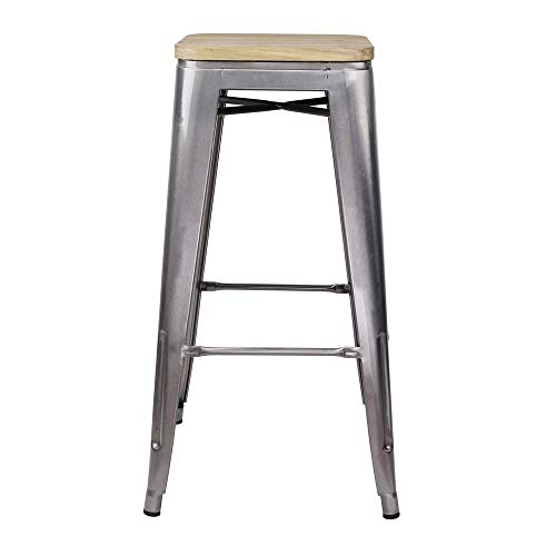 GIA 30-Inch Backless Bar Height Stool with Wooden Seat, Gunmetal Light Wood, 4-Pack
