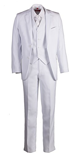 Boys Slim Fit White Suit in Toddlers to Boys Sizing (8B) ()