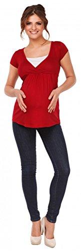 Happy Mama mujer. De punto premamá. manga corta camiseta imperio. 373p Carmesí