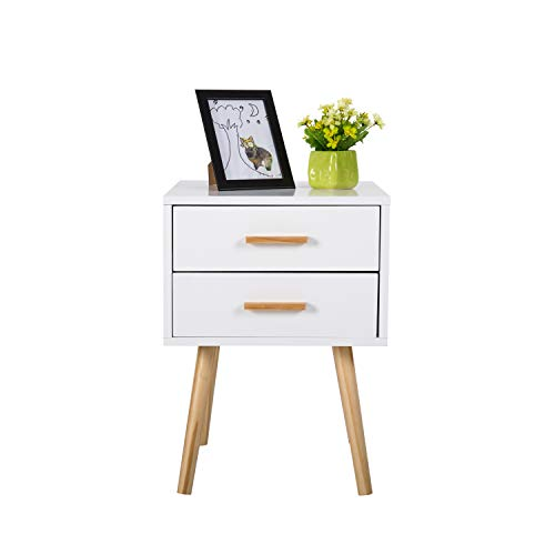 Peach Tree Side End Table Nightstand with 2 Drawers Storage Mid-Century Accent Wood Furniture, White/Wooden by Peachtree Press Inc (Image #5)