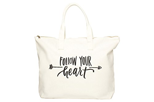 Canvas Tote Bag with Special Saying - Zipper Top, Interior Pocket, 100% Cotton (Natural - Follow Your (Bride Zipper)