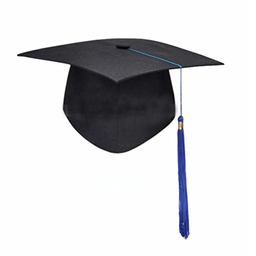 Tinksky Unisex Adult Graduation Cap with Tassel Adjustable (Black Blue) ()