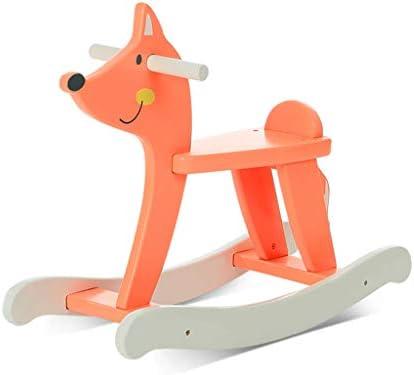 乗馬用ロッキングホース 子供用木製ロッキングチェア 子供用フォックス木製ホース ロッキングチェア 子供のおもちゃロッキングチェア 美しいギフトに 60*24*47cm オレンジ