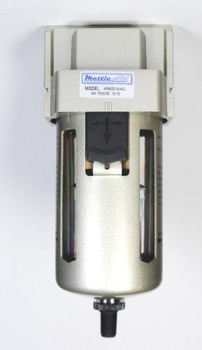 "MettleAir AF4000-N06D-1 PK Automatic Drain Air Filter with Moisture Trap, 6000 L/minute, 3/4"" NPT Ports"