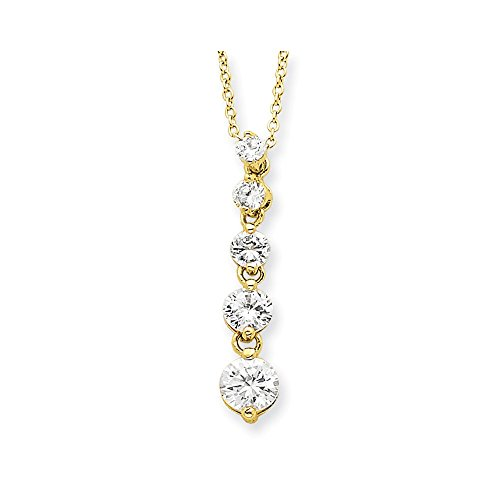 925 Sterling Silver Vermeil Cubic Zirconia Cz Journey Chain Necklace Pendant Charm Fine Jewelry Gifts For Women For Her