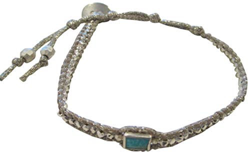 lver Beads and Turquoise Stone Single Shimmer Wrap Bracelet ()