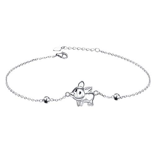 - 925 Sterling Silver Anklet for Women Girls Pig Charm Adjustable Foot Ankle Bracelet Jewelry Birthday Gift (Ankle Bracelet)