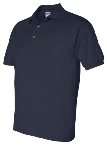 Gildan Men's Double-Needle Jersey Polo Sport Shirt, Navy, XX-Large