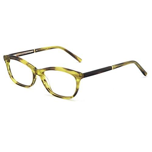 (OCCI CHIARI Womens Rectangle Stylish Eyewear Frame Non-Prescription Clear Eyeglasses (B-Green/Tortoise(New)))