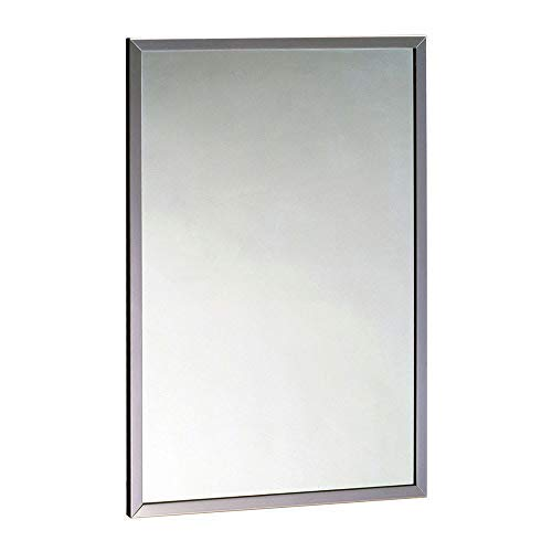- Bobrick 165 Series 430 Stainless Steel Channel Frame Glass Mirror, Bright Finish, 24