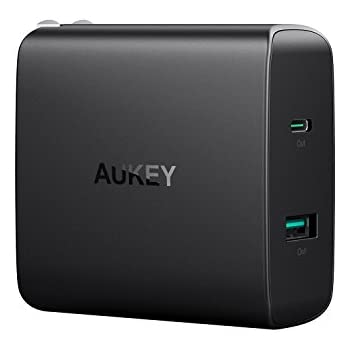 AUKEY USB C Charger with 46W USB-C Power Delivery 3.0 & 5V/2.1A Ports USB Wall Charger for MacBook / Pro, iPhone X / 8 / Plus, Samsung Note8 and More