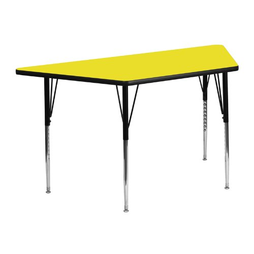 Flash Furniture 25.5''W x 46.25''L Trapezoid Yellow HP Laminate Activity Table - Standard Height Adjustable Legs School Age Seating Set