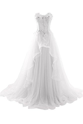 ivyd ressing Mujer de gran calidad Traeger los Punta & Gasa Largo a de línea Prom vestido Fiesta Vestido para vestido de noche Weiß