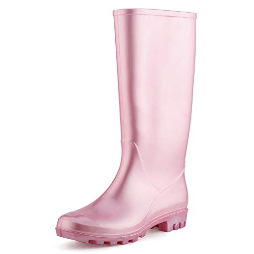 - KomForme Women' s Knee High Waterproof Rain Boots Glitter, Matte and Gradient