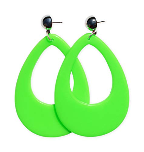 Neon Nation Circular Oval Earring w/Silver Top 1980s Costume Party (Green) ()