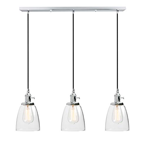 Phansthy Mondern Chandeliers Chrome Polished 3 Lights Pendant Ceiling Lighting with 5.7 Inches Oval Glass Light Shade(Chrome, Oval)