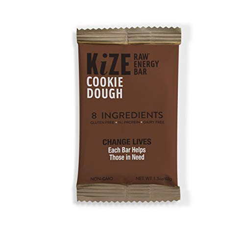 (KiZE - (10 Pack) Raw Energy Bars - Cookie Dough - Non GMO, Gluten Free, No Added Sugar, Bulletproof)