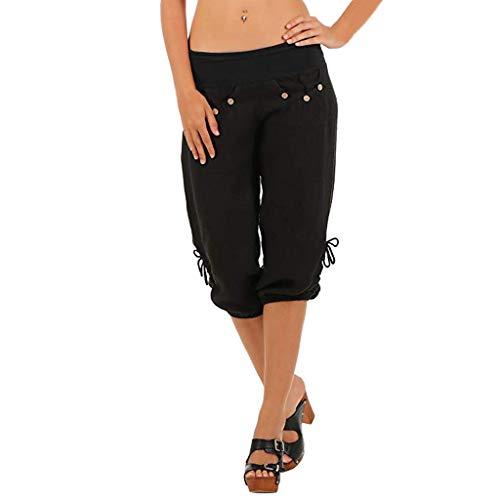 TIMEMEANS Womens Elastic Waist Boho Check Pockets Baggy Wide Leg Yoga Capris Pants Black