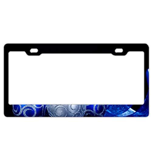KSLIDS Car License Plate Frame,Holiday Christmas Ornaments Blue Silver Ribbon Alumina License Plate Covers