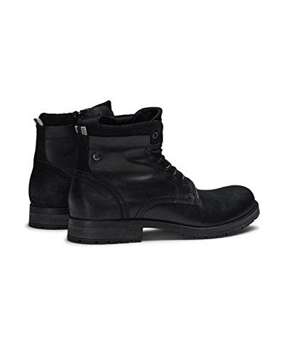 JACK Stiefeletten Lederstiefel Schnürboot Stiefel Schwarz Combat amp; Boots Boots JONES Herren Leather Black Leder jfwHANIBAL M11A4grq