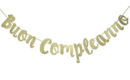 Buon Compleanno Banner, Italian Happy Birthday Sign Garland Party Decorations Anniversary Decor Photo Booth Props Gold]()