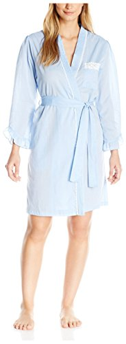(Eileen West Women's Long Sleeve Short Wrap Robe with White Lace Trim, Chambray L/XL)