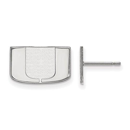 NCAA 10k White Gold University of Miami XS Post Earrings by LogoArt