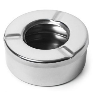 SHAFIRE Ashtray Ash Tray with Lid Stainless Steel Black Ashtray for Indoor Or Outdoor Use Desktop Smoking Ash Tray for Home Office Decoration with Lid(Silver)