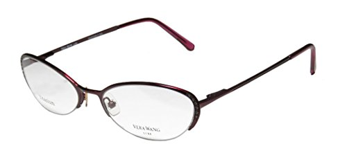 Vera Wang Epiphany Ii Womens/Ladies Designer Half-rim Titanium Crystals Spring Hinges Eyeglasses/Eye Glasses (50-17-135, Bordeaux)