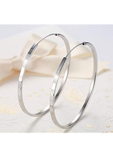 Large Hoop Earrings Sterling Silver Earrings for Women Endless Circle Big Round Loop Earrings,Anti Allergy Diameter 50mm