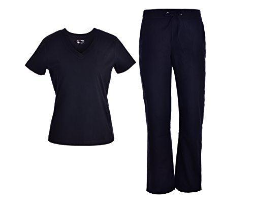 Pandamed V-Neck Scrubs Set With Rib Basic Medical Uniforms Doctor Nurse Scrubs Sets Black-JY1606 (Black, XL)